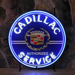 Cadillac Service neon met achterplaat