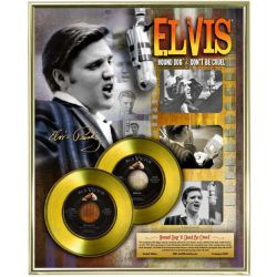 "Vergulde gouden plaat - Elvis Presley ""Hound Dog - Don't Be Cruel"""