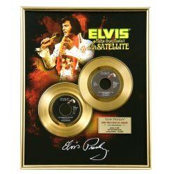 """Vergulde gouden plaat - Elvis Presley """"Via Satellite"""""""