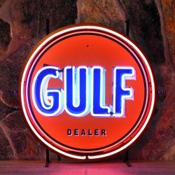 Gulf neon met achterplaat