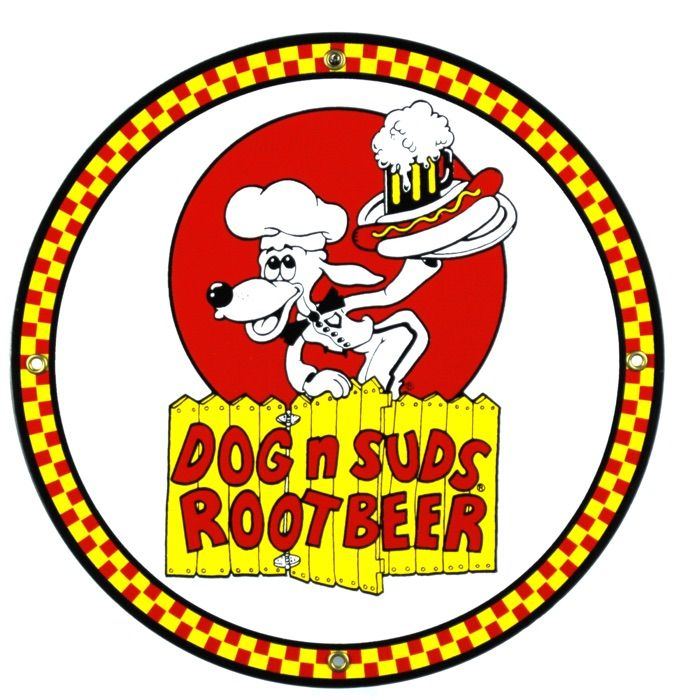 Emaille bord Dog 'n Suds Root Beer