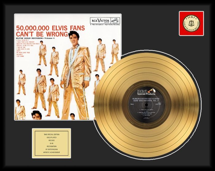 """Vergulde gouden plaat - Elvis Presley """"50 Million Fans"""""""