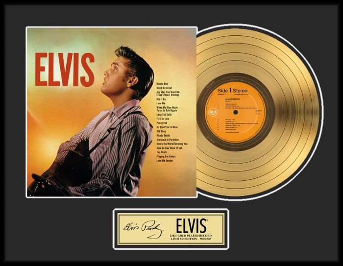 "Vergulde gouden plaat - Elvis Presley ""Gold LP LE 2500"""