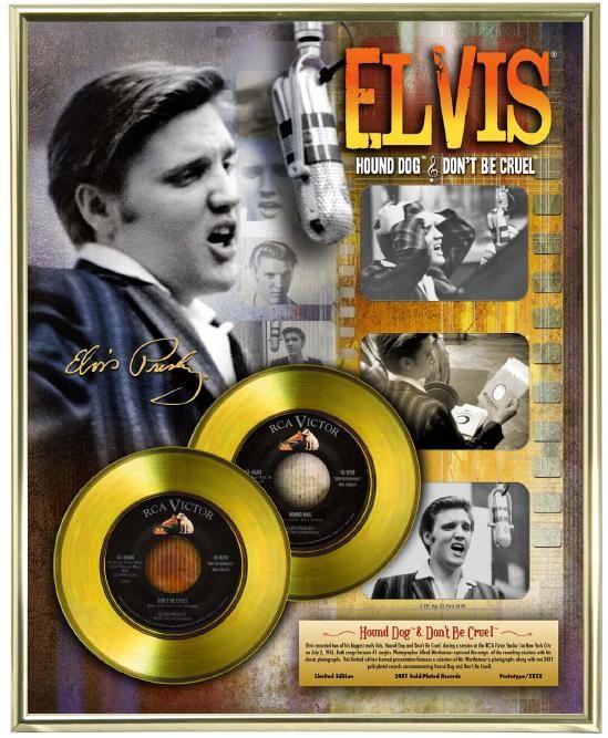 """Vergulde gouden plaat - Elvis Presley """"Hound Dog - Don't Be Cruel"""""""
