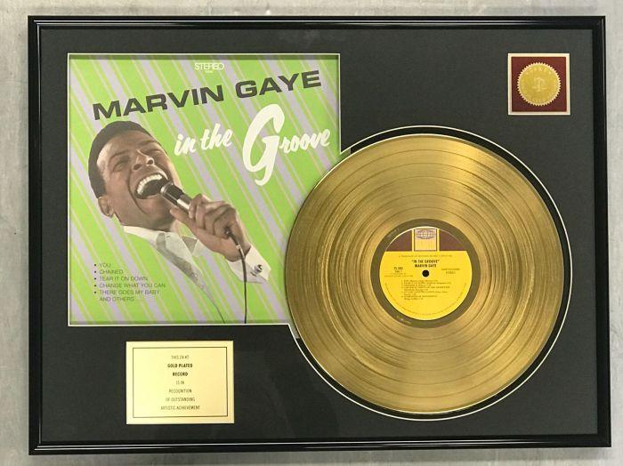 """Vergulde gouden plaat  - MARVIN GAYE  """"IN THE GROOVE"""""""