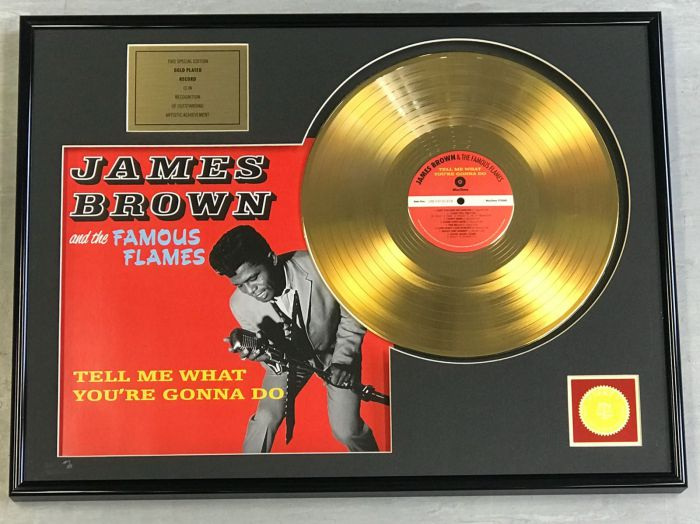 "Vergulde gouden plaat - JAMES BROWN  ""TELL ME WHAT YOU'RE GONNA DO"""