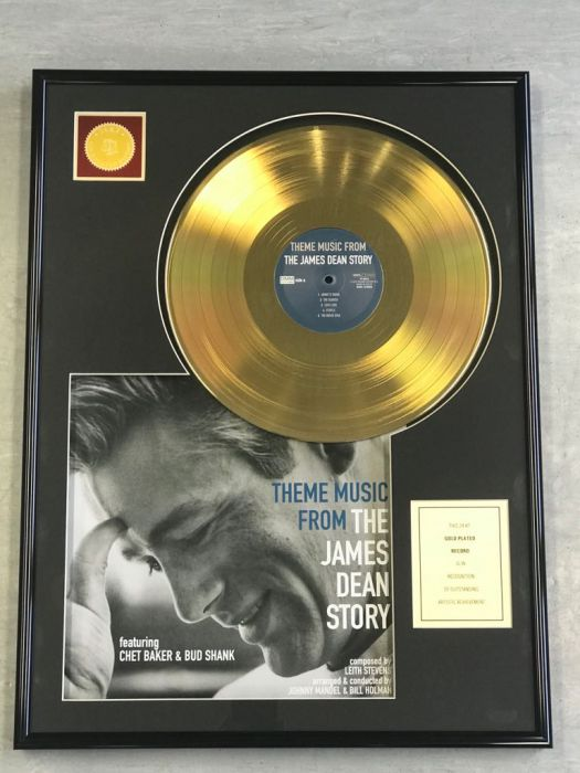 "Vergulde gouden plaat - JAMES DEAN ""THE JAMES DEAN STORY"""