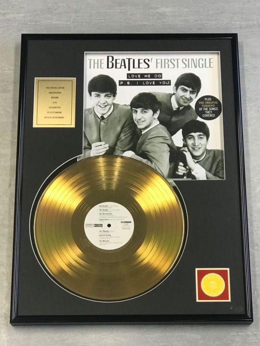 """Vergulde gouden plaat  - THE BEATLES """"FIRST SINGLE"""""""