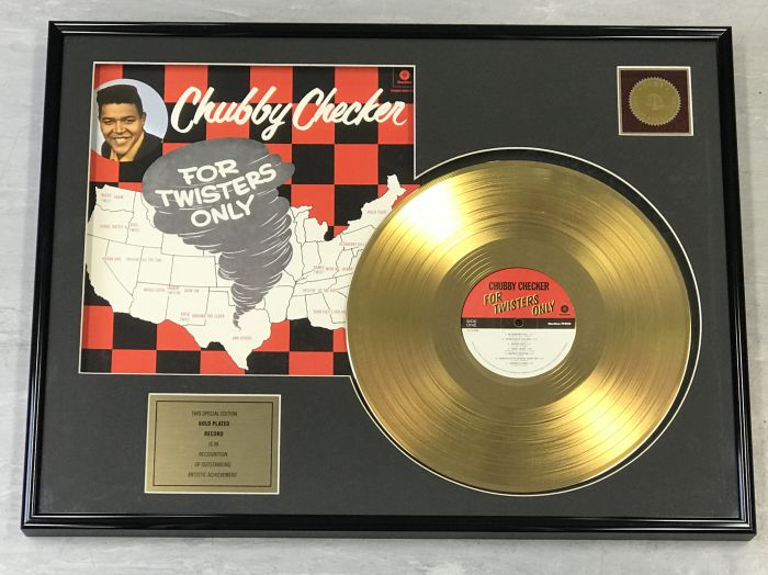 "Vergulde gouden plaat - CHUBBY CHECKER ""FOR TWISTERS ONLY"""