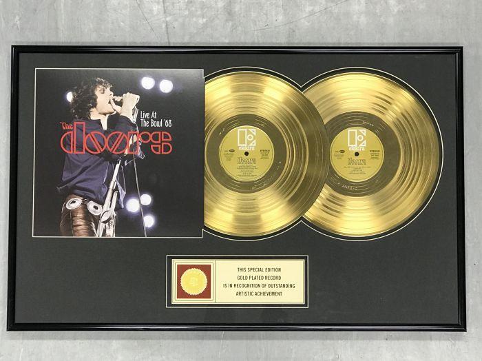 """Vergulde gouden plaat  - THE DOORS """" LIVE AT THE BOWL '68"""""""