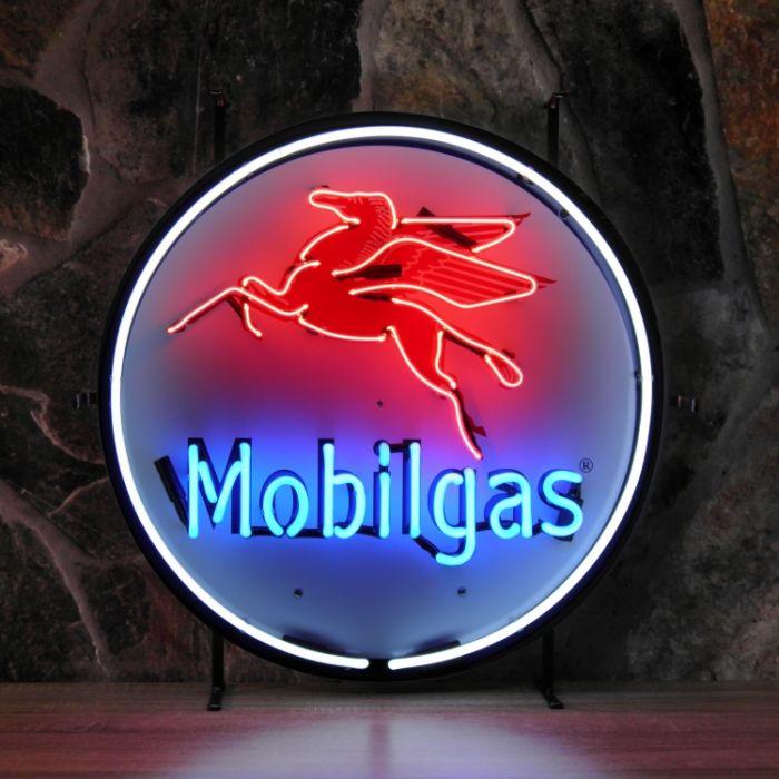 Mobilgas neon met achterplaat