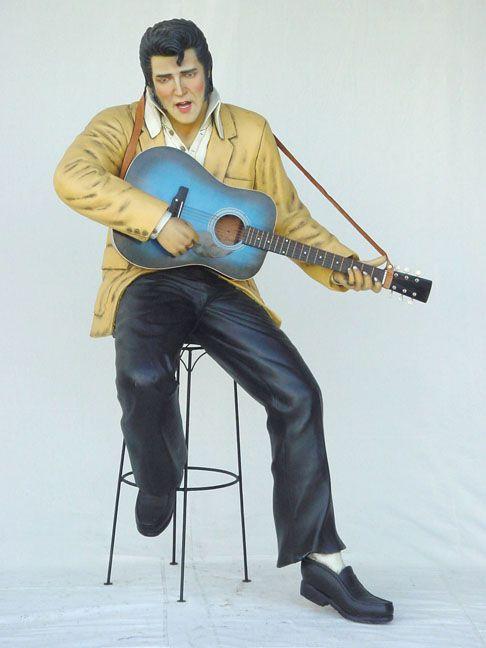 Elvis with Guitar Sitting Lifesize