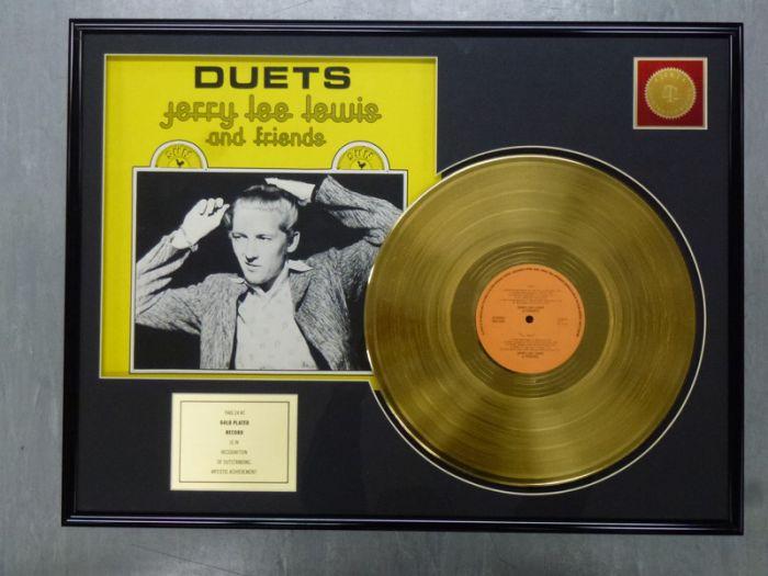 """Vergulde gouden plaat - JERRY LEE LEWIS """"DUETS"""""""