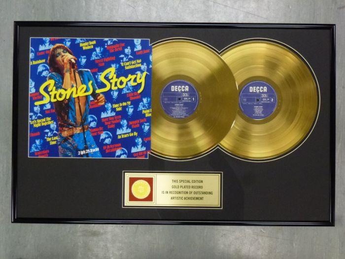 """Vergulde gouden plaat - THE ROLLING STONES """"STONE STORY"""""""