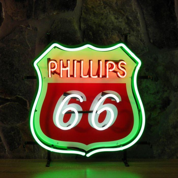 Phillips 66 neon met achterplaat