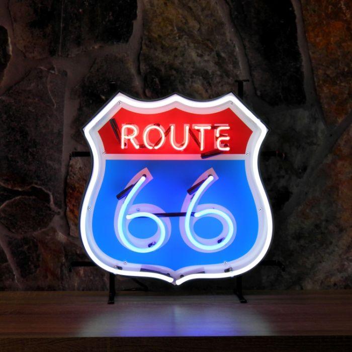 Route 66 neon met achterplaat